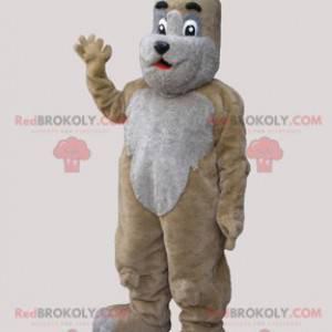 Soft and cute beige and gray dog mascot - Redbrokoly.com