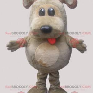Grå og beige hundemaskot. Plump maskot - Redbrokoly.com