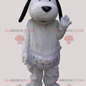 Weißes Hundemaskottchen mit schwarzen Ohren - Redbrokoly.com