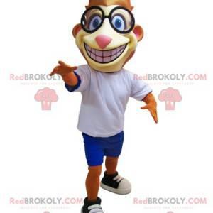 Orange and yellow tiger mascot with glasses - Redbrokoly.com