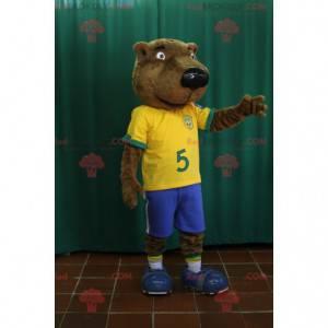 Brown bear beaver mascot in football outfit - Redbrokoly.com
