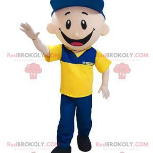 Maskotka garażowa listonosz ubrana na niebiesko i żółto -
