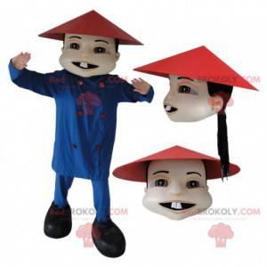 Azjatycki chiński mężczyzna maskotka w tradycyjnym stroju -