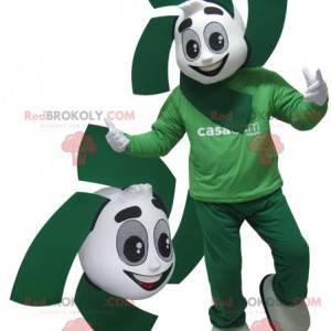 Weißes und grünes Schneemannmaskottchen. Grünes Maskottchen -