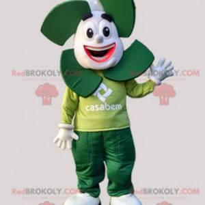 Weißes und grünes Schneemannmaskottchen. Casabem Maskottchen -
