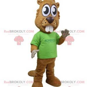 Brown beaver mascot with big teeth and big eyes - Redbrokoly.com