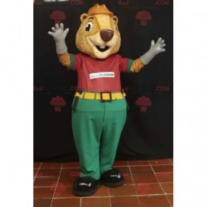 Maskot béžový bobr v pracovním obleku - Redbrokoly.com