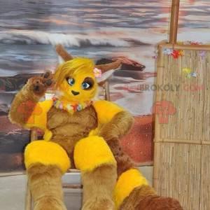 Maskottchen des gelben und braunen Fuchses - Redbrokoly.com