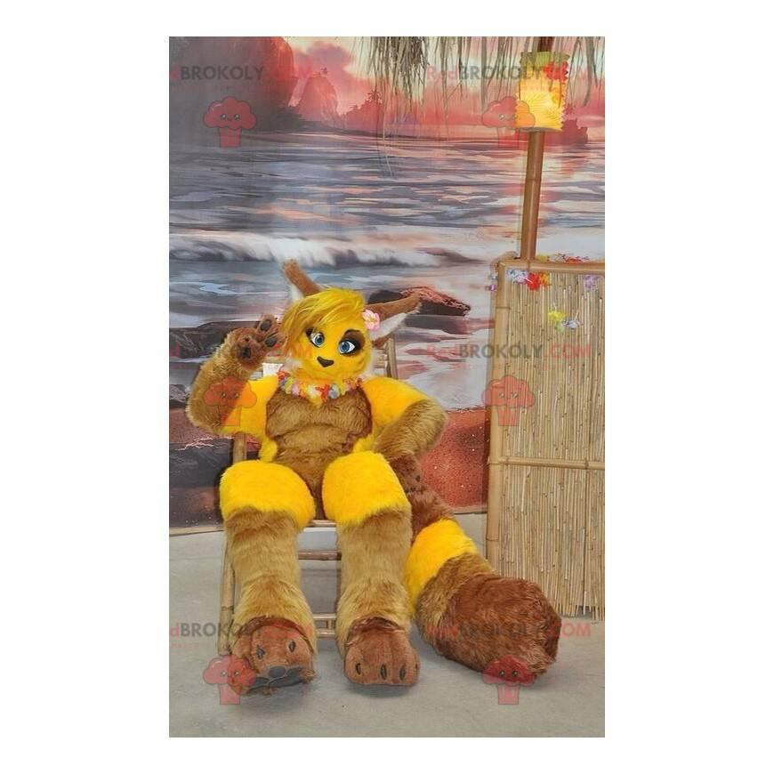 Maskot žluté a hnědé lišky - Redbrokoly.com