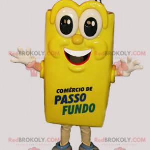 Riesiges und fröhliches gelbes Einkaufstaschenmaskottchen -