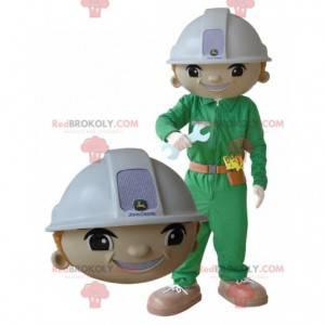 Mannarbeitermaskottchen mit einem Helm und einer Uniform -