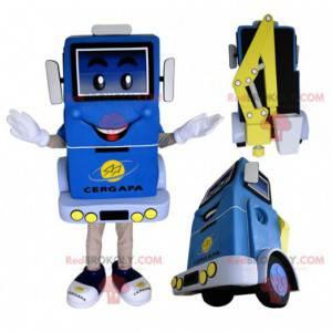 Blaues und gelbes Maskottchen des Lastenaufzugs - Redbrokoly.com