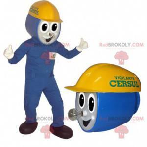 Pracovník elektrikář maskot v modrém oblečení - Redbrokoly.com