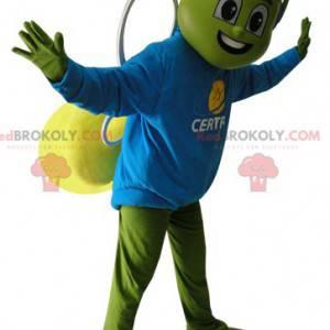 Zielona i żółta maskotka owad z niebieskim hełmem -