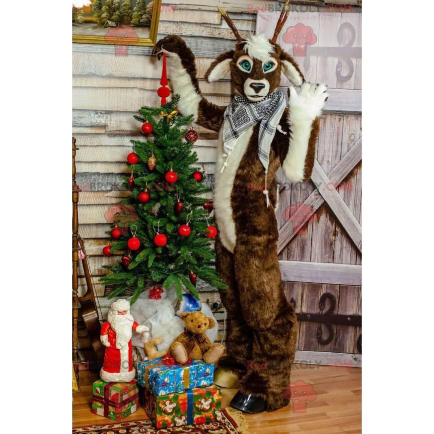 Braunes und weißes Weihnachtsrentiermaskottchen - Redbrokoly.com