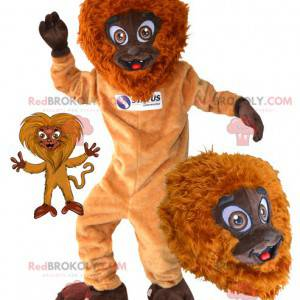 Owłosiona i zabawna pomarańczowo-brązowa małpa maskotka -