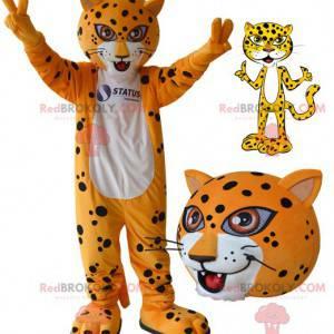 Bílý a černý oranžový tygr leopard maskot - Redbrokoly.com