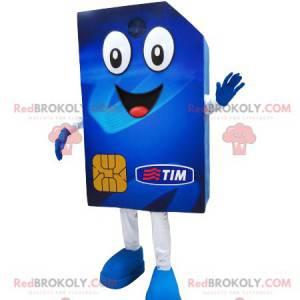 Riesiges und fröhliches blaues SIM-Karten-Maskottchen -