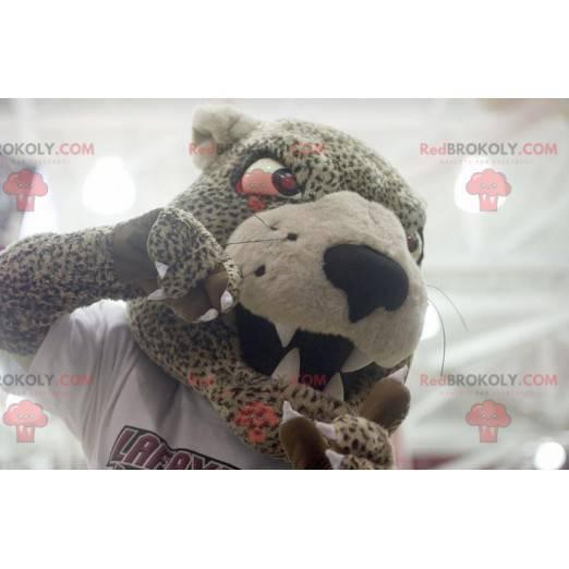 Cheetah mascot beige and black jaguar - Redbrokoly.com