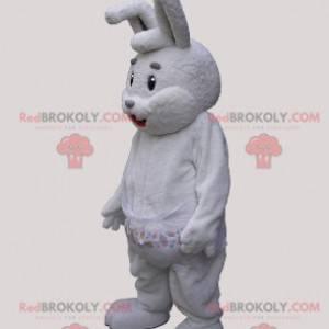 Maskot velký šedý a bílý králík s kabátem - Redbrokoly.com