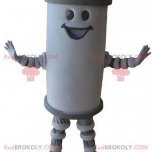Mascotte de pile géante blanche et grise souriante -
