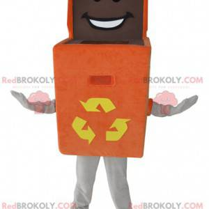 Oranžový box maskot. Maskot popelnice k recyklaci -