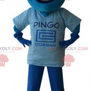 Blue snowman mascot with the head in the shape of a drop -