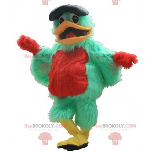 Green and red bird mascot with a beret - Redbrokoly.com