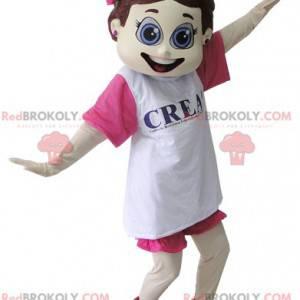 Kokette Mädchen Maskottchen in rosa und weiß gekleidet -