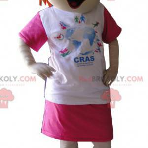 Rusovlasá dívka maskot oblečený v růžové a bílé - Redbrokoly.com