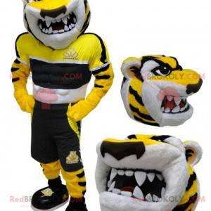 Žlutý černobílý tygr maskot divoce hledá - Redbrokoly.com
