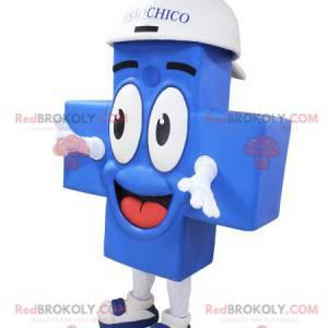 Mascotte croce blu gigante e sorridente - Redbrokoly.com