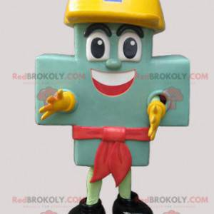 Giant green cross mascot with a yellow helmet - Redbrokoly.com