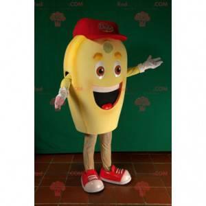 Usmívající se maskot žlutého sněhuláka kukuřičného zrna -