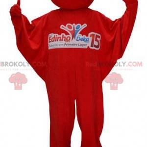 Red snowman mascot. Mascot in red jumpsuit - Redbrokoly.com