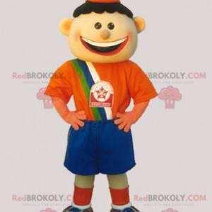 Soccer boy mascot dressed in orange and blue - Redbrokoly.com