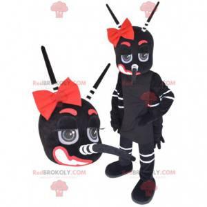 Obří komár maskot černá bílá a červená - Redbrokoly.com