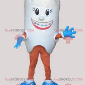 Gigantisk hvit tann maskot. Tannlege maskot - Redbrokoly.com