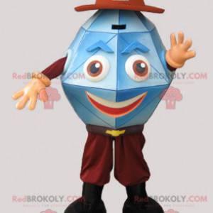 Blue gemstone crystal diamond mascot - Redbrokoly.com
