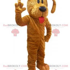 Brun hundemaskot med rød tunge - Redbrokoly.com