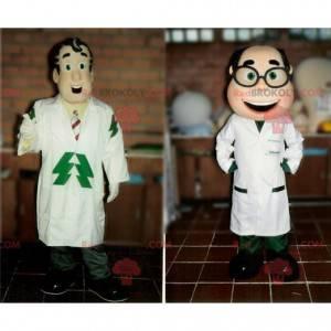 2 Maskottchen von Ärzten von Wissenschaftlern in Mänteln -