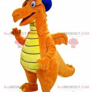 Pomarańczowo-żółta maskotka dinozaura ze spiczastym kapeluszem