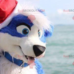 Niebiesko-biały pies maskotka - Redbrokoly.com