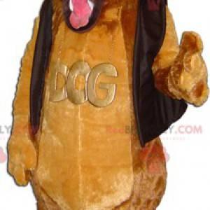 Cute soft and hairy brown dog mascot - Redbrokoly.com