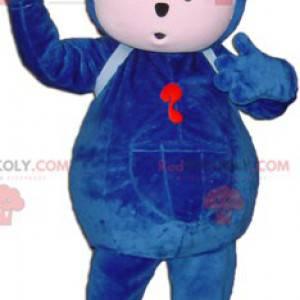 Blaues Teddybärmaskottchen mit Brille - Redbrokoly.com