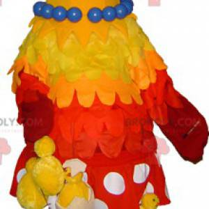 Yellow and red hen mascot with hanging chicks - Redbrokoly.com