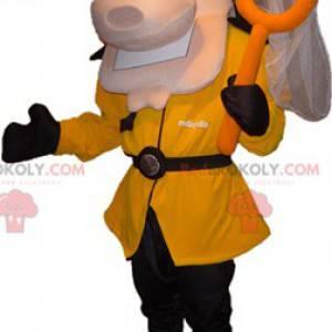 Maskotka mężczyzna ubrany w czarno-żółty kostium z siatką -