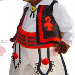 Brązowy bóbr maskotka świstak w tradycyjnym stroju -