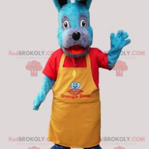 Modrý psí maskot se žlutou zástěrou - Redbrokoly.com