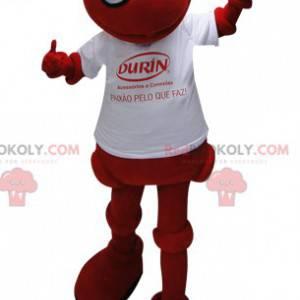 Rød myre maskot med en hvid t-shirt - Redbrokoly.com